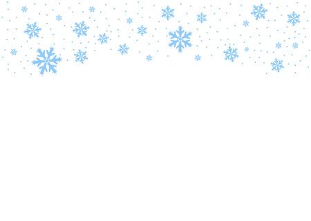 Vektor fallender blauer Schnee auf weißem Hintergrund, Möglichkeit der Überlagerung. Platz für Text. Winter, Weihnachtstextur. Eps. Vektorgrafik