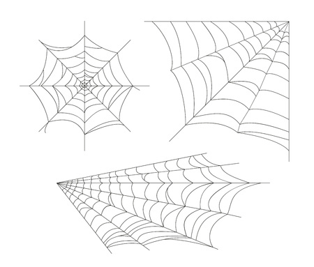 Set cobweb. Vector spider web. Design elements isolated on light background. Eps.