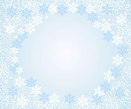 Abstract falling snowflakes, light blue background. Vector illustration with space for text.