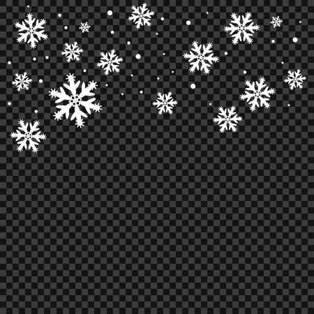 Snow and snowflakes background, pattern. Winter frosty storm, snowfall effect. Vector design elements for Christmas and New year. Eps. Illustration