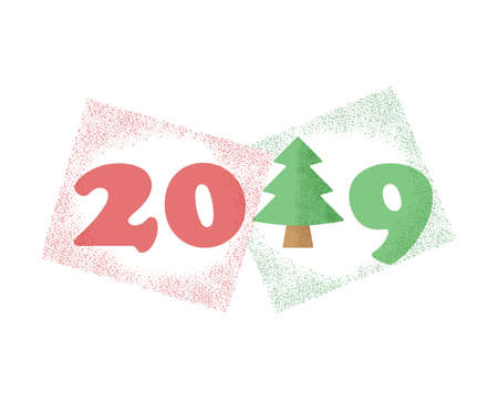 Original Christmas tree with numbers 2019 for decorating the calendars of the new year. Vector element, template on isolated background.