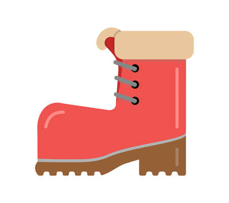 Boot red with brown sole with warm fur. Vector element isolated on light background.