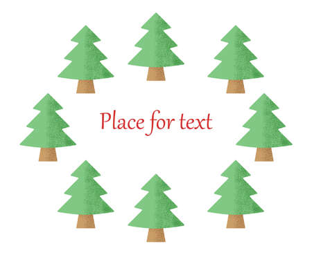 Christmas trees on a white background with a place for your text. Vector illustration. Çizim