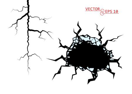 Cracks. The Destruction, The Abyss. Vector decorative element on isolated background. Eps. Vettoriali