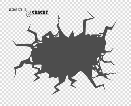 Cracks. The Destruction, The Abyss. Just changing color. Vector decorative element on isolated transparent background. Eps.