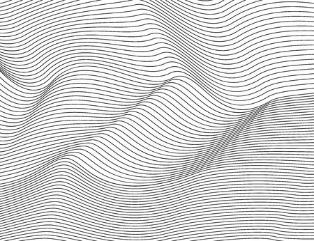Wavy abstract dark lines. Vector texture stripes Pattern, isolated white background. Able to overlay, easy to change color. Eps.
