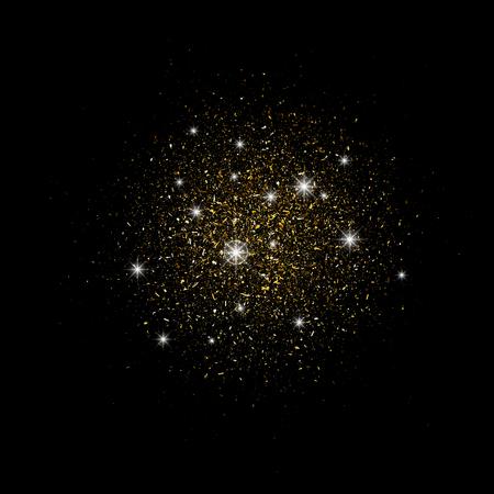 Sternenstaub gold. Partikel schimmern in Brillanz. Leuchtende Sterne. Dekoration für den Weihnachtsurlaub des neuen Jahres, Konfetti. Vektorüberlagerungselement, lokalisierter dunkler Hintergrund. Eps.