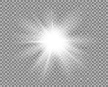 White bright light, glare. Decorative element overlay glitter, explosion, star Shine. Vector design decoration of new year, Christmas. Transparent background. Eps. Vector Illustration