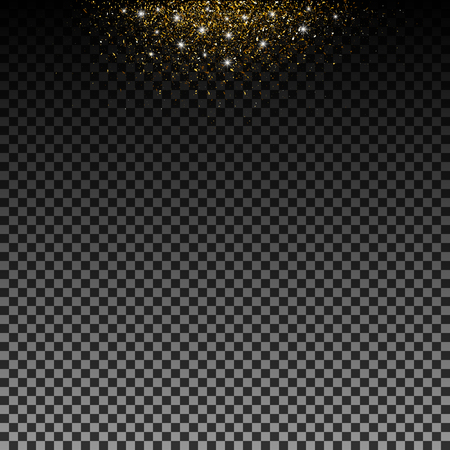 Stardust gold. Particles shimmer brilliance. Glowing stars. Decoration for new year's Christmas holiday, confetti. Vector overlay element, isolated dark background. Eps. Ilustração