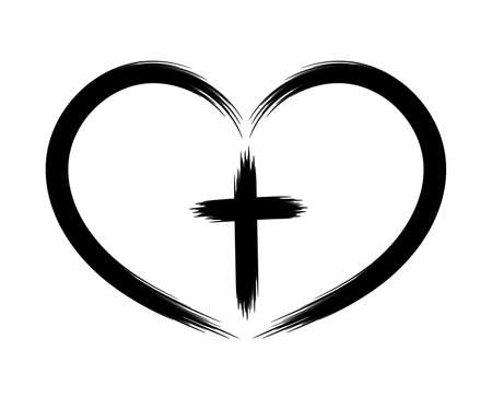 Heart and Christian cross. The concept of symbolism. Painted by brush. Vector icon. The object is isolated on a white background. Ilustrace