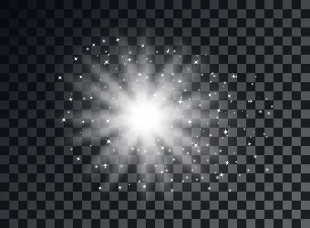 Transparent light elements on an isolated background. Bright reflection, particle. Shining star. Glaring effulgence. Vector illustration. Eps.