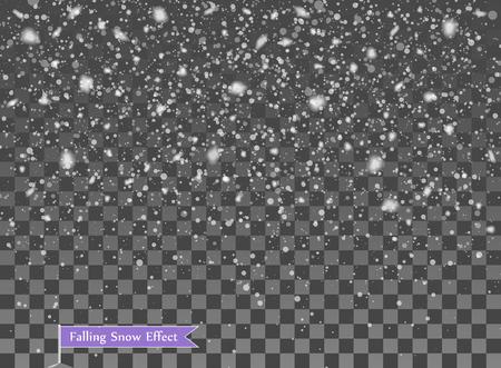 Neve che cade, elementi casuali. Anno nuovo, sovrapposizione di decorazioni natalizie. Illustrazione vettoriale su sfondo trasparente isolato. eps. Vettoriali