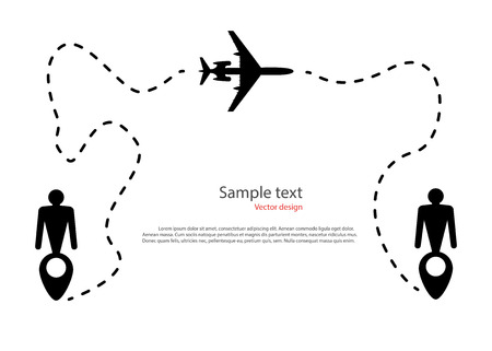 The silhouette of the aircraft flight movement, trajectory, route dotted line. Map Pin in the form of icons man, destination. Vector illustration isolated light background. Eps. Illustration