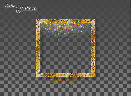 Golden abstract square with falling sparkling dust on transparent isolated background. Vector frame for new year, Christmas. Decorative element with the possibility of overlay. Eps.