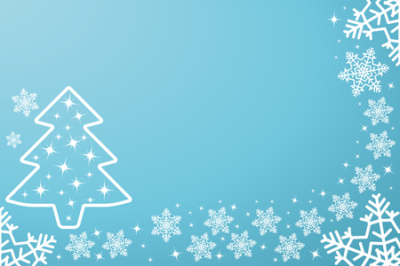 Festive blue card for new Year or Christmas. Falling hand-drawn snowflakes, with space for text. Vector illustration. Eps.