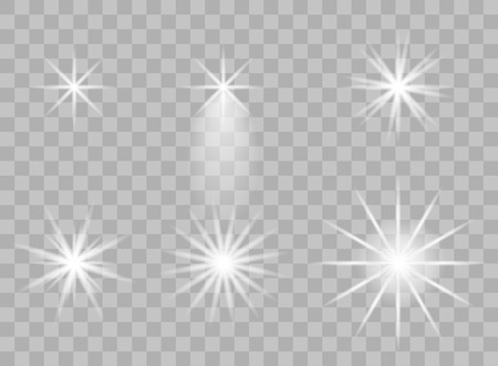 The selection of the transparent elements of light on an isolated background. Bright reflection, flare. Shining star. Glaring effulgence. Vector illustration. Eps.