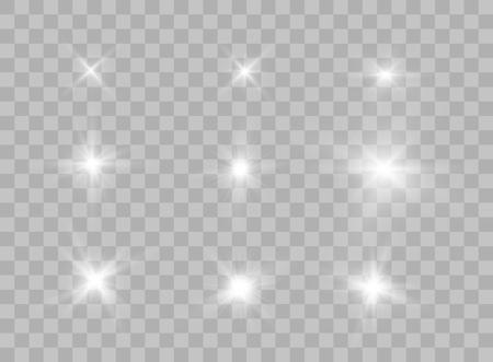 Die Auswahl der transparenten Lichtelemente auf einem isolierten Hintergrund. Helle Reflexion, Aufflackern. Leuchtender Stern. Strahlender Glanz. Vektor-Illustration. Eps.