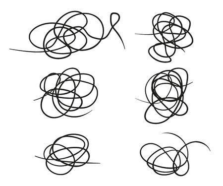 Ensemble de vecteur de forme de ligne de gribouillis dessinés à la main. Style de croquis Doodle. Éléments vectoriels isolés sur fond clair. Eps. Vecteurs