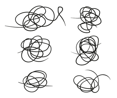 Vector set of hand-drawn scribble line shape. Sketch style Doodle. Vector elements isolated on light background. Eps.
