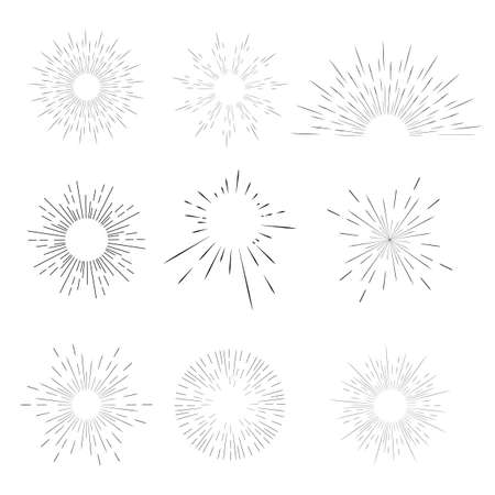 Vector geometric radial line sunburst, the rays of the sun or the stars Shine, flash. Fireworks retro, vintage style.