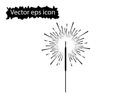 Illustration of a sparkler, fireworks. Element isolated on white background.
