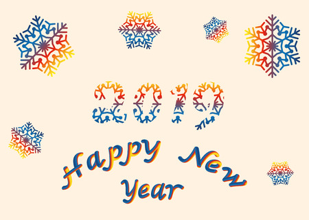 Vector illustration happy New year font with letters art design 2019, colorful snowflakes. 3D lettering style rendering bubble font. Color blue yellow red. Eps.