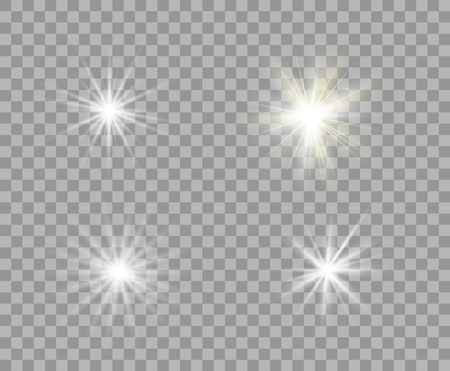 Set white and yellow luminous transparent light. Vector Christmas stars, a bright flash of light. Glitter element on isolated transparent background. With the possibility of overlay. Eps.