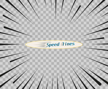 Vector lines of different variants of simple horizontal. The concept of speed, motion, black color. Elements of manga cartoon design for comic books isolated background. Ilustrace