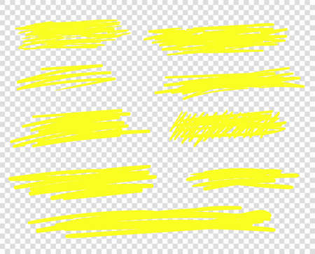 A selection of the line of stroke markers. Vector highlight brush lines. Hand drawing sketch underlined, stripes. Illustration isolated on a transparent background.