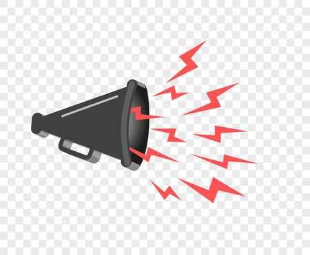 3D megaphone hailer, talking loudly to turn. Sound waves are directed. Vector design element, icon on isolated transparent background.
