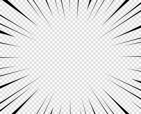 Vector black radial lines for comics, superhero action. Manga frame speed, motion, explosion background. Design element isolated transparent background. Vettoriali