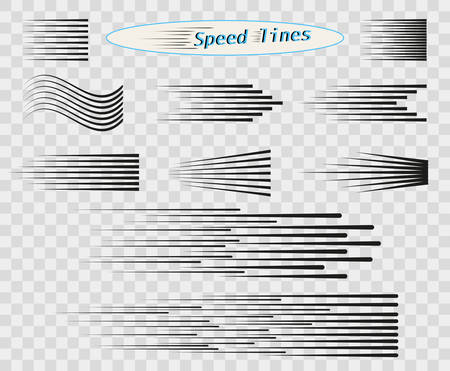 Set of vector different options of simple horizontal lines of speed, movement, black color. Manga cartoon design elements on isolated transparent background.