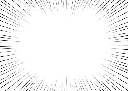 Vector black radial lines for comics, superhero action. Manga frame speed, motion, explosion background. Design element isolated white background. Ilustrace