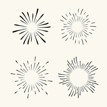 Vector hand drawn geometric radial line sunburst, the rays of the sun or the stars Shine, flash. Fireworks retro, vintage style.