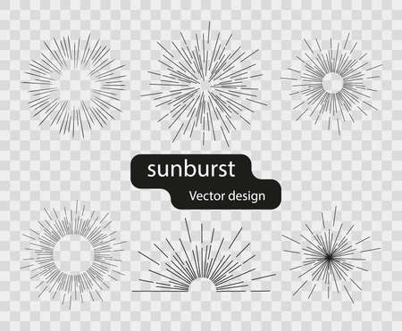 Set of vector retro solar light rays from simple lines. Abstract rays of the sun. Sunburst design elements on isolated background. Ilustrace