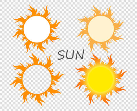 Selection of suns with tongues of flame. Vector design elements on isolated transparent background.