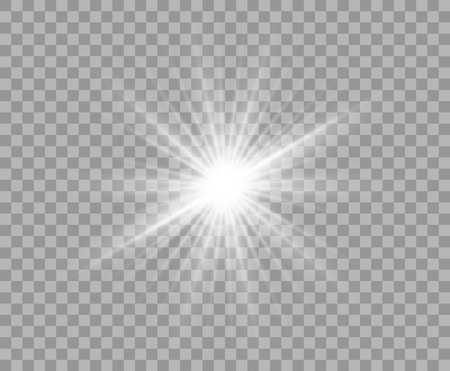 White luminous transparent light. Vector Christmas star, a bright flash of light. Glitter element on isolated transparent background. With the possibility of overlay. Eps.