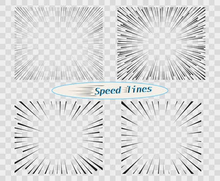 Set of vector lines of different variants of the simple horizontal. The concept of speed, motion, black color. Elements of manga cartoon design for comic books isolated background. Ilustrace