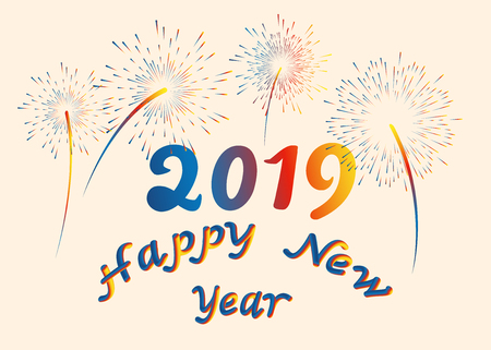 Vector illustration happy New year font with letters art design 2019, colorful fireworks. 3D lettering style rendering bubble font. Color blue yellow red. Eps.