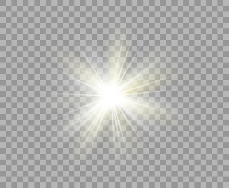 White and yellow luminous transparent light. Vector Christmas star, a bright flash of light. Glitter element on isolated transparent background. With the possibility of overlay. Eps.