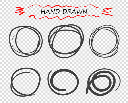 Vector hand drawn black round Doodle of lines. Selection of elements notes, sketch. message bubble. Illustration of a white isolated background. Ilustrace