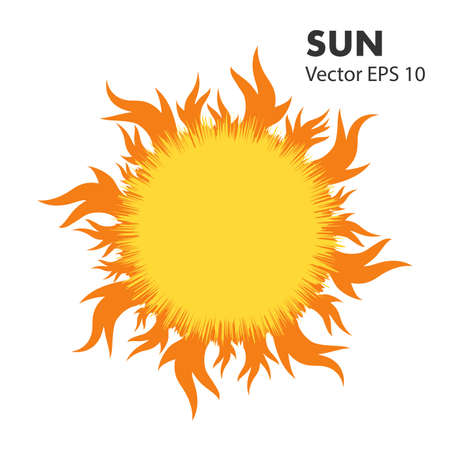 Summer hot sun with tongues of flame. Vector design element on isolated white background.