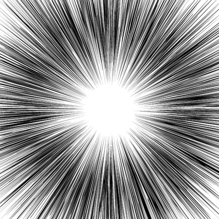 Vector radial lines. Concept of speed, movement, black color. Design elements manga, cartoon, comics. Illustration on isolated background. Eps.