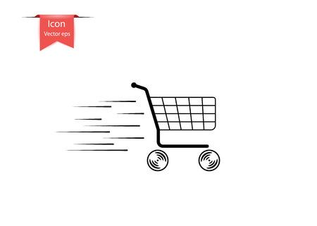 Shopping panier vide en mouvement, avec des lignes de vitesse. Le concept de vente. Élément de design vectoriel isolé sur fond clair. Eps.