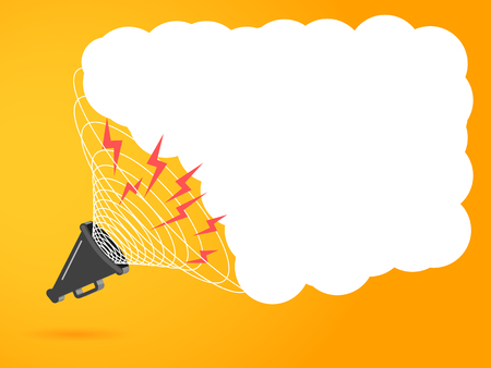 3D megaphone hailer, talking loudly to turn. The concept of advertising discounts. Sound waves are directed. Vector illustration with space for text. Eps.