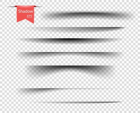 Conjunto de sombras superpuestas transparentes vectoriales. Elementos de diseño realista sobre un fondo transparente aislado para su diseño. Eps. Ilustración de vector