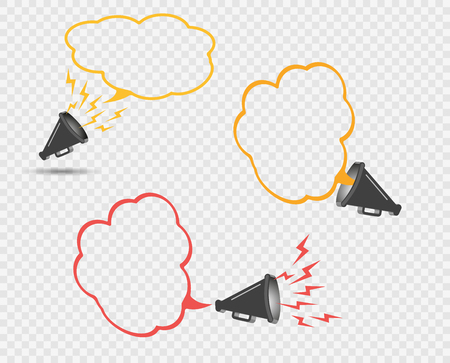 3D megaphone hailer, talking loudly to turn. The concept of advertising discount, bubble. Sound waves are directed. Vector illustration with space for text. Eps. Иллюстрация
