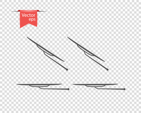 Windshield wiper in inclement weather. vector illustration, design elements on isolated transparent background. Eps.
