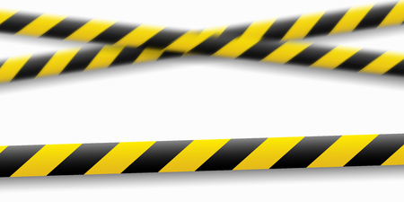 Vector illustration of the attention line. Yellow black police warning tapes, fencing. Danger sign. Do Not cross the border. Eps. Standard-Bild - 118197578