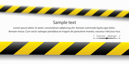 Vector illustration of the attention line. Yellow black police warning tapes, fencing. Danger sign. Do Not cross the border. Eps. Standard-Bild - 118197583